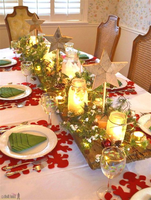 décoration de table Noël jeté blanc