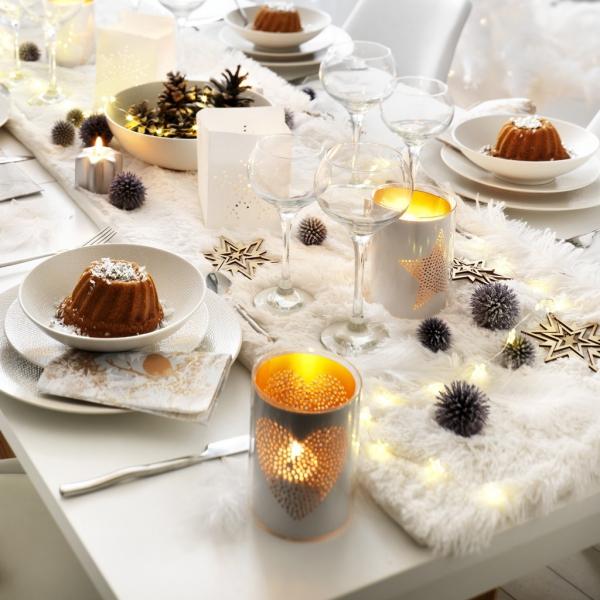 décoration de table Noël table blanche