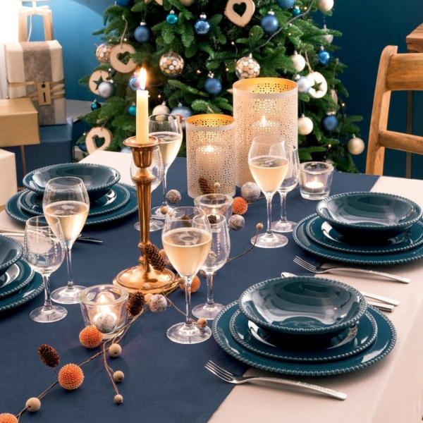 décoration de table Noël table en bleu