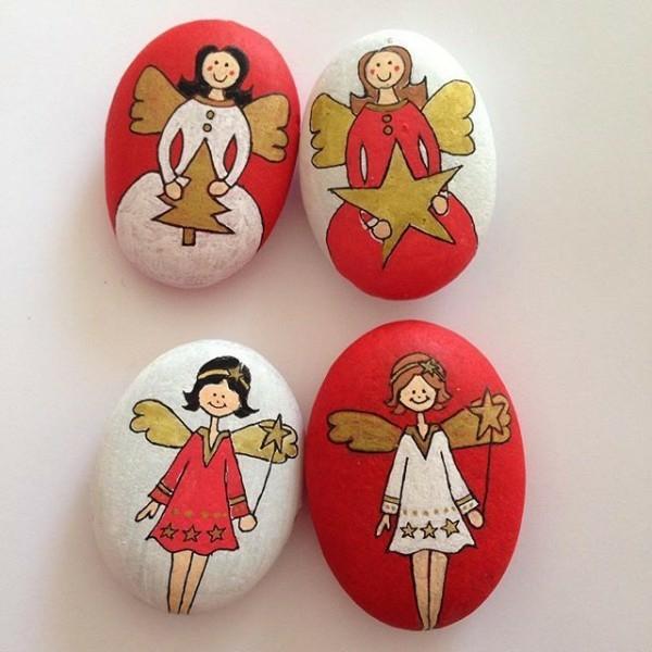 diy anges de noël idée de peinture sur galets pour noël