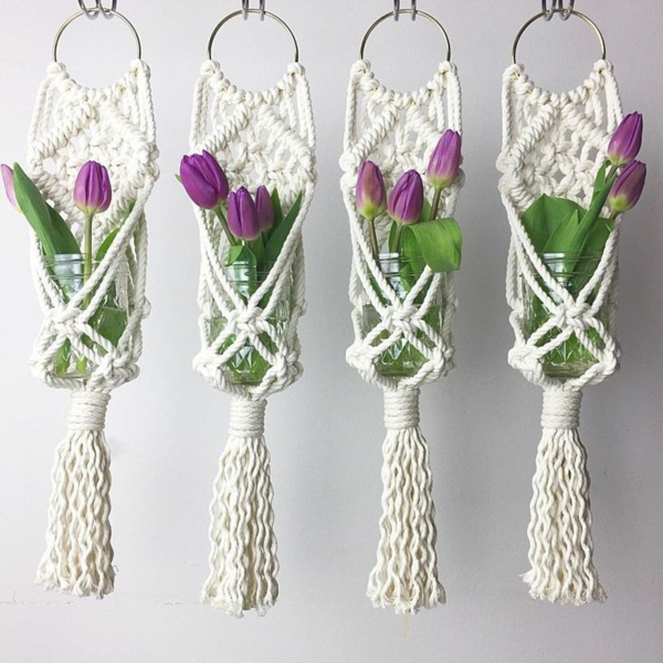 diy suspension macramé bocaux en verre tulipes