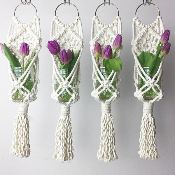 diy suspension macramé bocaux en verre tulipes