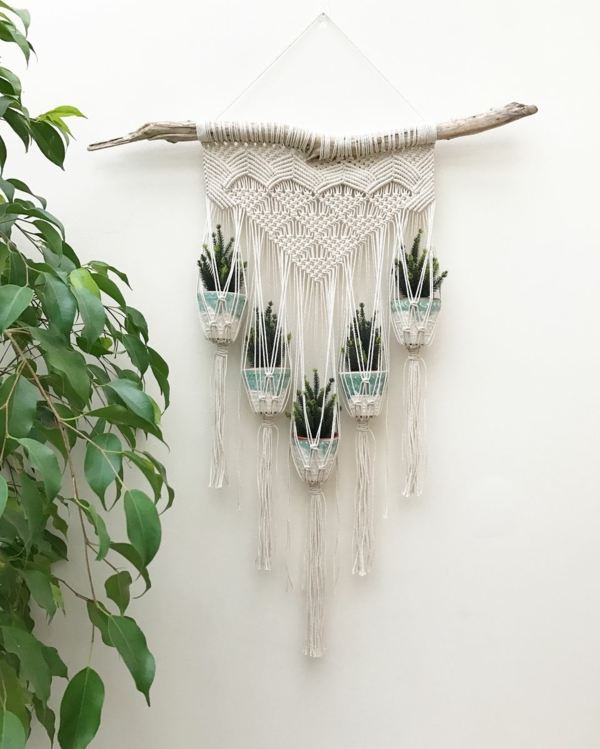 diy suspension macramé cinq pots