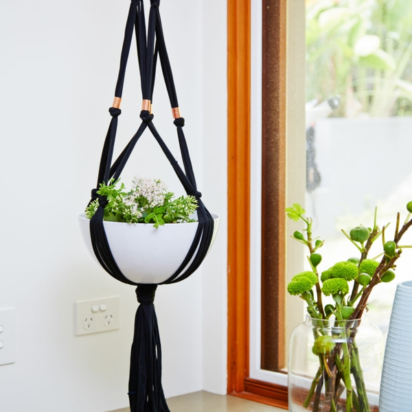 diy suspension macramé fil noir