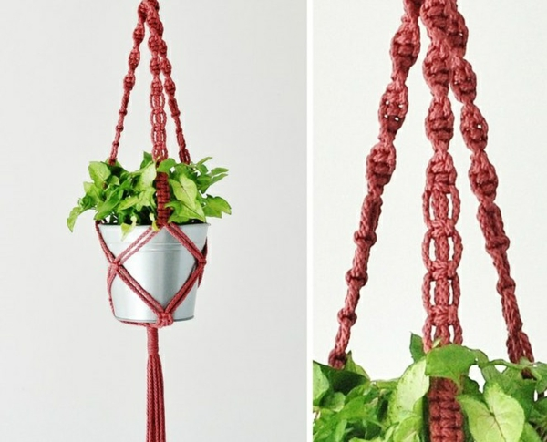 diy suspension macramé fil rouge