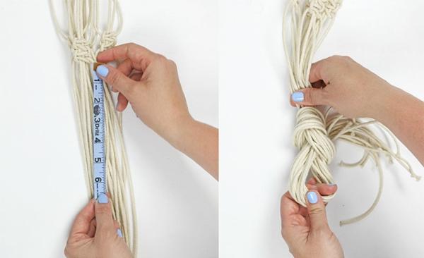 diy suspension macramé noeud final