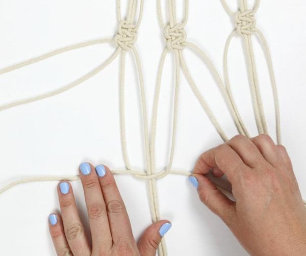 diy suspension macramé noeuds deuxième rangée