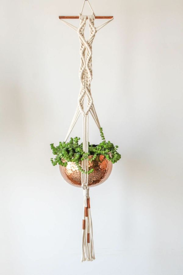 diy suspension macramé pot en laiton