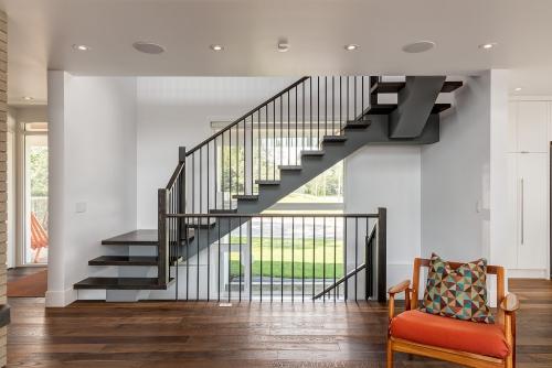 escalier quart tournant accès à deux étages