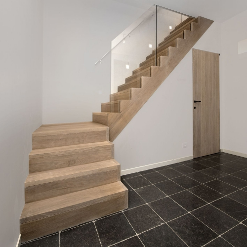 escalier quart tournant carrelage en gris