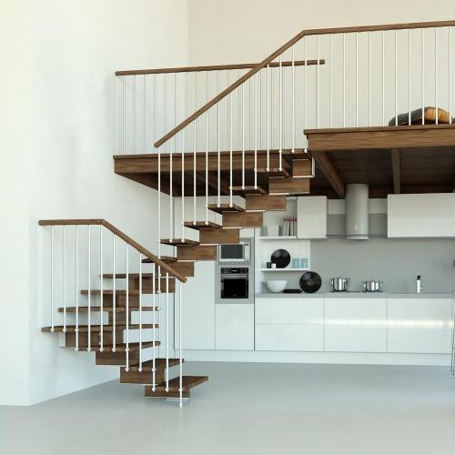 escalier quart tournant mezzanine pour recevoir des invités