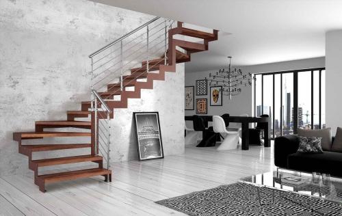 escalier quart tournant salon et salle à manger