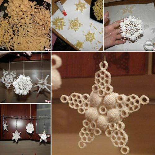 faire ornement de sapin idée bricolage noël pâtes alimentaires