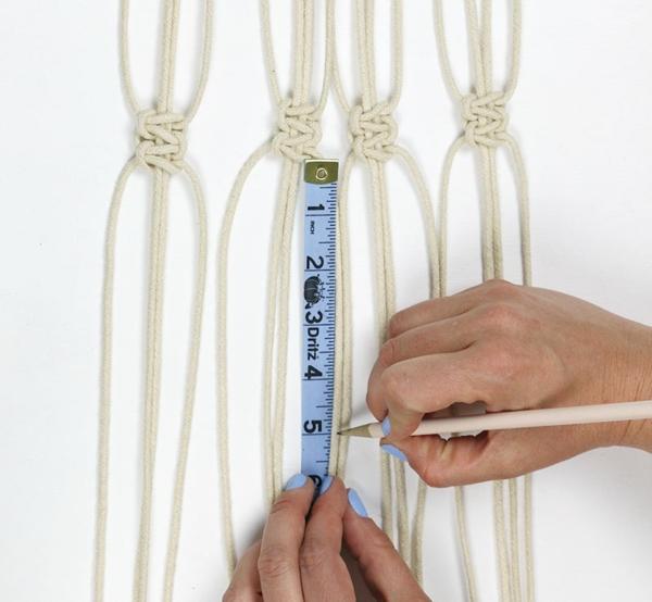 faire une suspension macramé noeuds