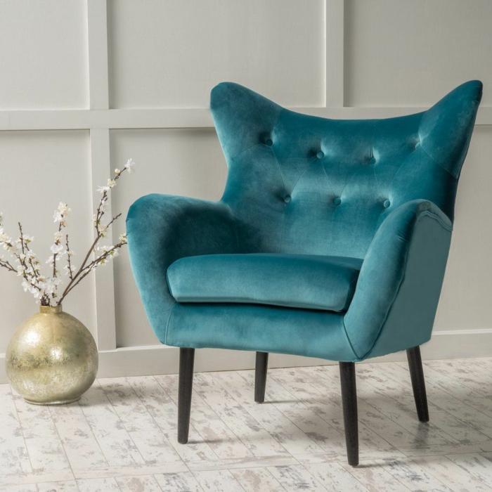 fauteuil en velours idée de décoration chambre adulte