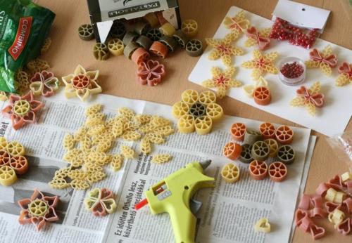 idée bricolage noël avec pâtes alimentaires
