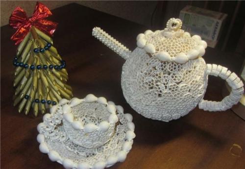 idée bricolage noël pâtes alimentaires service à thé et sapin de noël