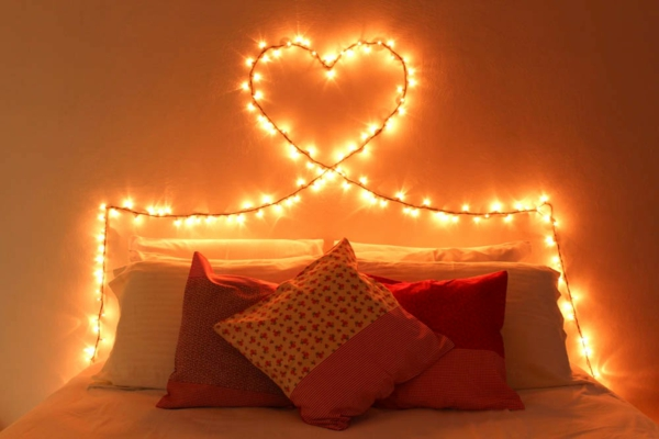 idée déco chambre adulte romantique éclairage guirlande lumineuse