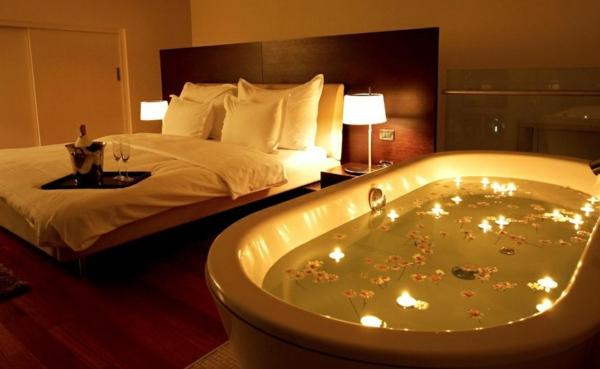 idée déco chambre adulte romantique baignoire