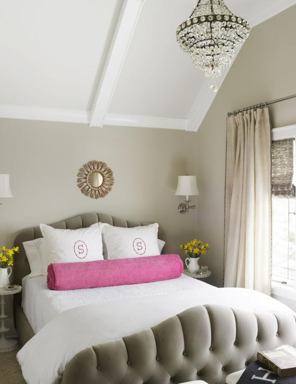 idée déco chambre adulte romantique beige blanc crème rose