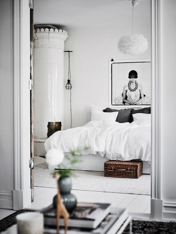 idée déco chambre adulte romantique blanc et noir