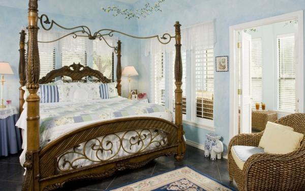 idée déco chambre adulte romantique bleu pâle style rétro