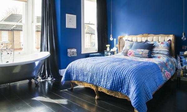idée déco chambre adulte romantique bleu pétrole