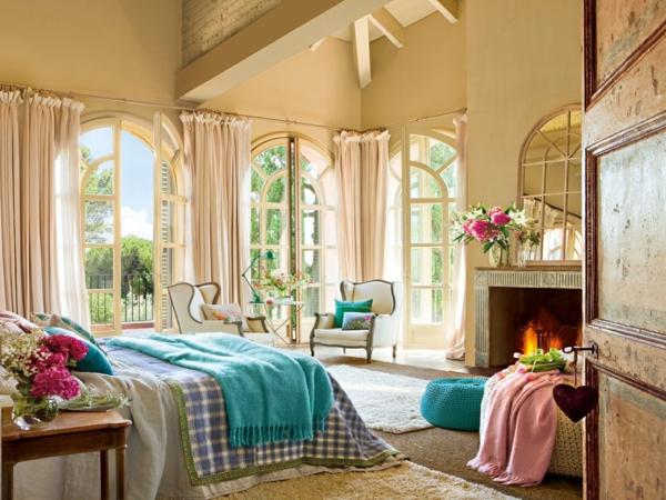 idée déco chambre adulte romantique cheminée