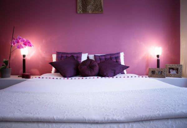 idée déco chambre adulte romantique couleur violet