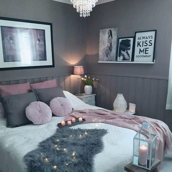 Exceptionnel Idée Déco Chambre Adulte Romantique Gris Rose Et Blanc