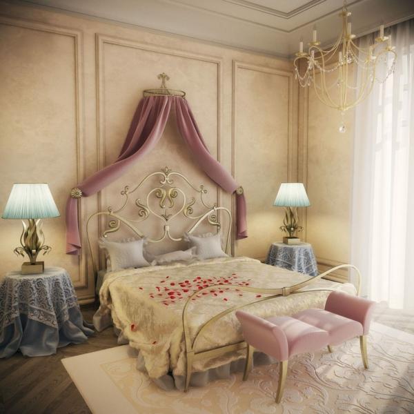 idée déco chambre adulte romantique lit en laiton couleurs pastels