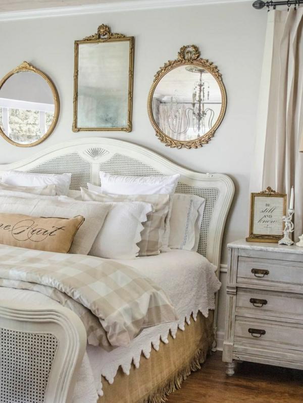 idée déco chambre adulte romantique miroirs vintage