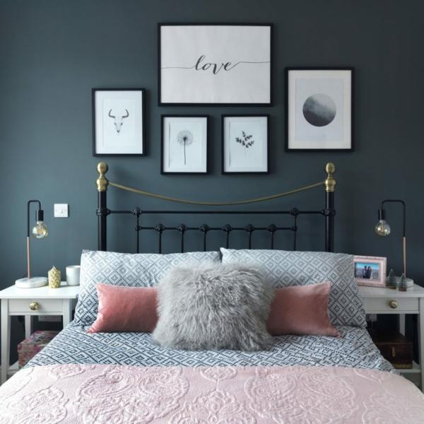 idée déco chambre adulte romantique peinture murale gris anthracite