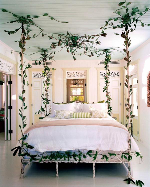 idée déco chambre adulte romantique plantes artificielles