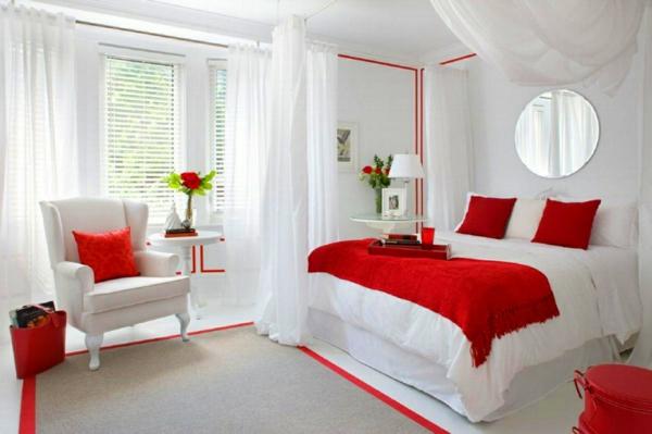 idée déco chambre adulte romantique rouge et blanc