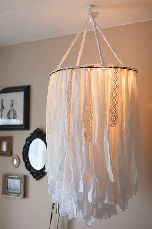 idée déco chambre adulte romantique suspension tissu diy