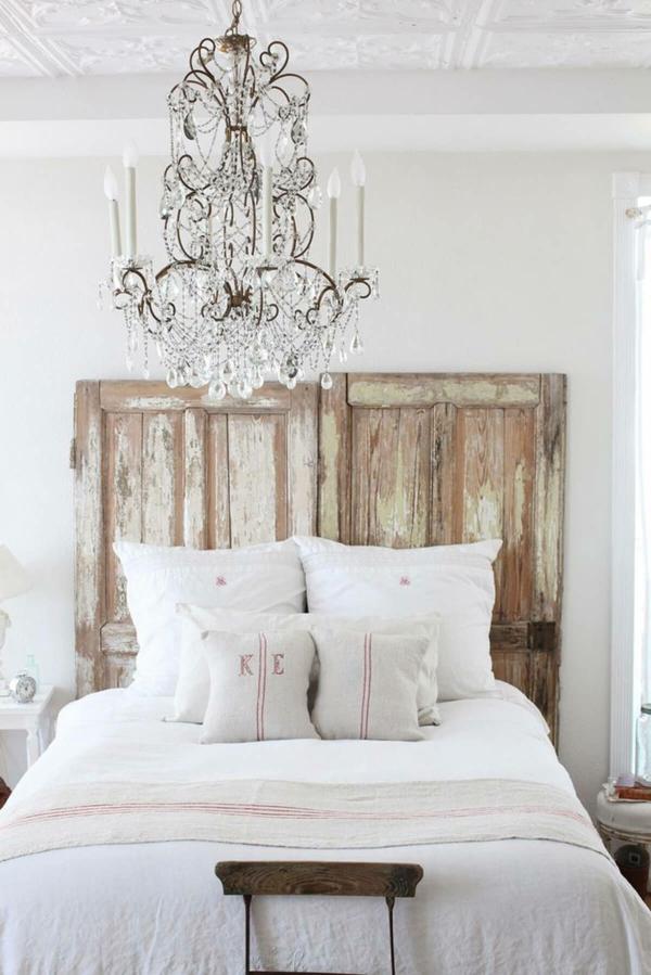 idée déco chambre adulte romantique tête de lit récup