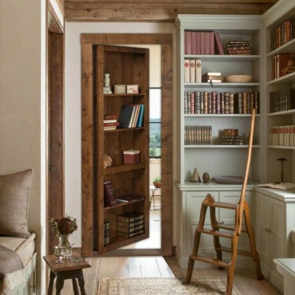 idée de cachette secrète maison rangement bibliothèque amovible