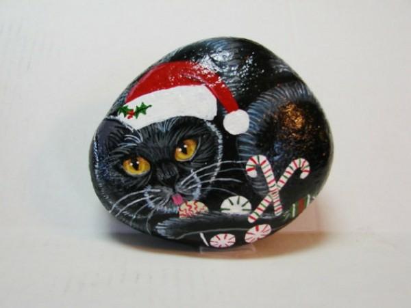 idée de peinture sur galets pour noël chat