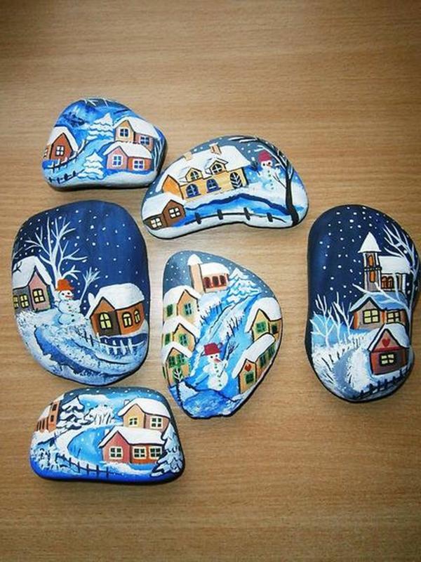 idée de peinture sur galets pour noël paysages hivernals
