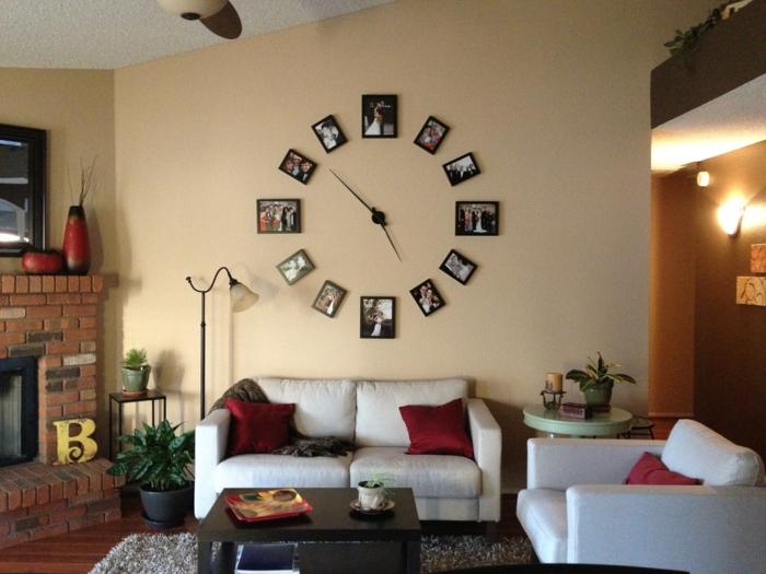 idée mur photo avec horloge