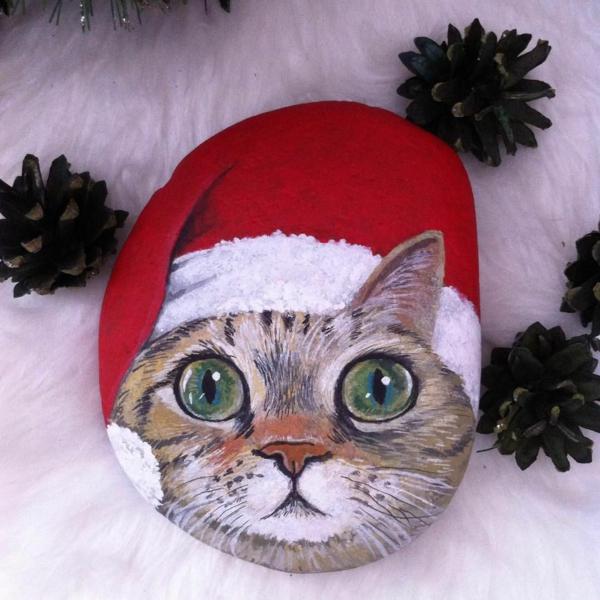 idée peinture sur galets noël chat diy