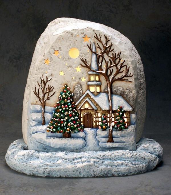 idée peinture sur galets pour noël paysage hivernal