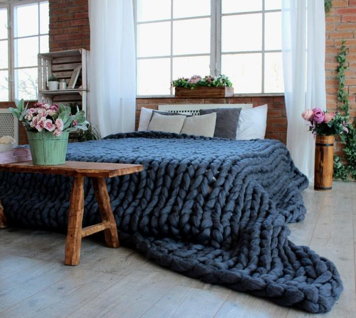 idée pour la chambre à coucher plaid grosse maille