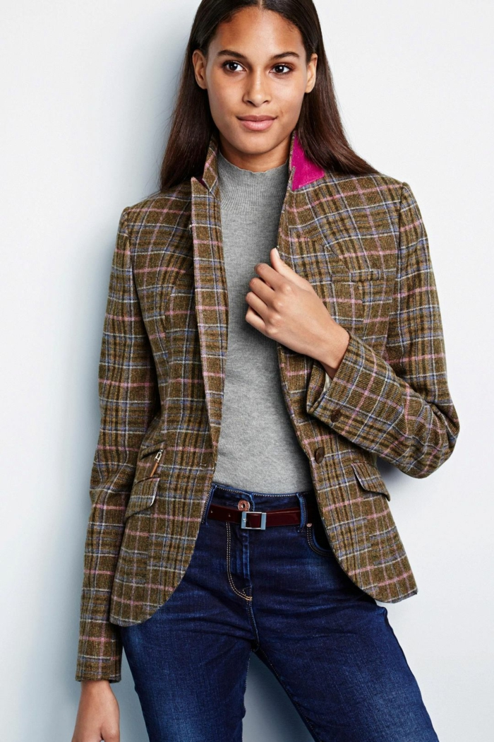 jean et veste carreaux femme