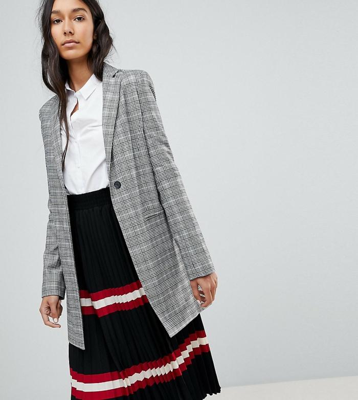 jupe longue et veste carreaux femme