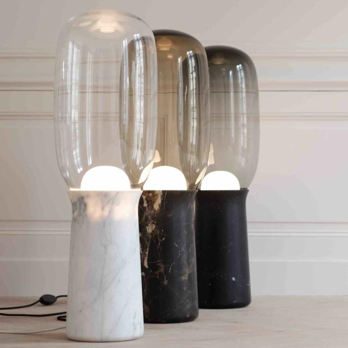 lampes de bureau effet marbré