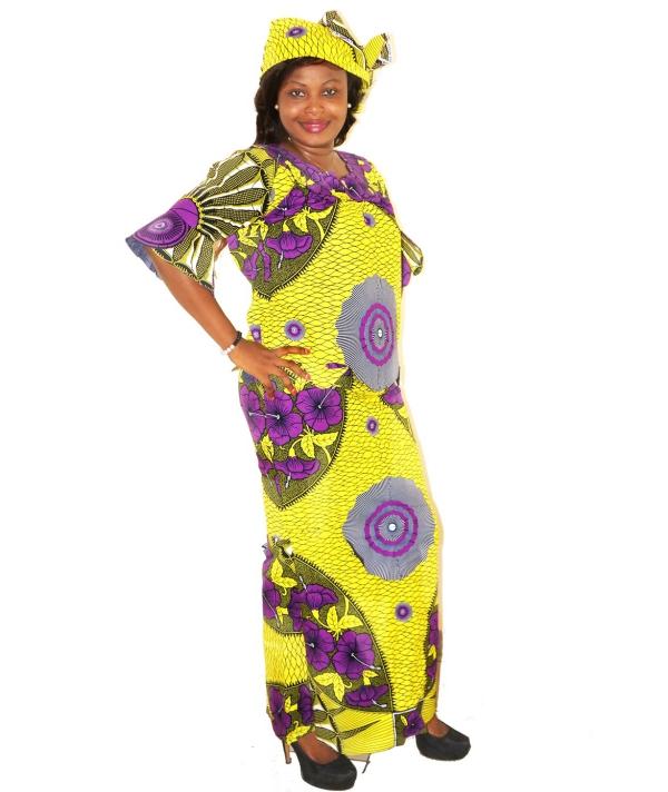le pagne africain belle combinaison du jaune et du violet