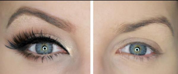 maquillage yeux de biche avant et après le maquillage