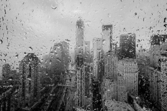 new york gouttes de pluie photographie noir et blanc